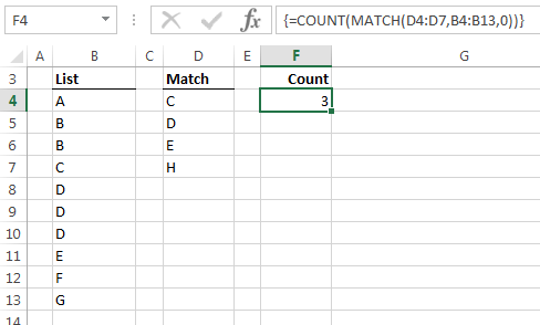 count and match functions in an array formula