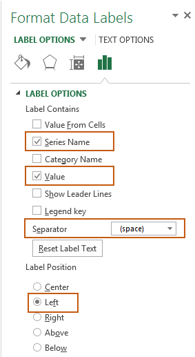 format data labels settings