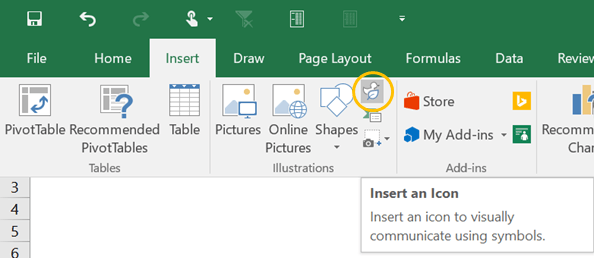 insert Excel icons