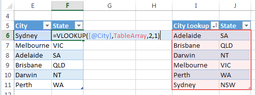 return State values using VLOOKUP