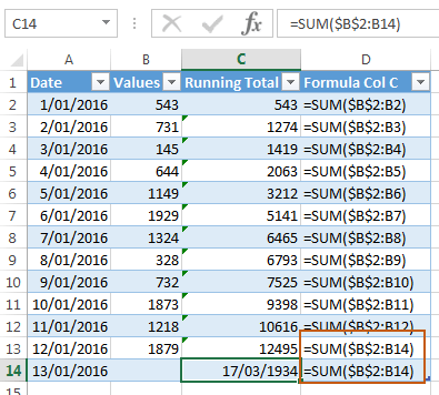 Excel Table Running Total Formula
